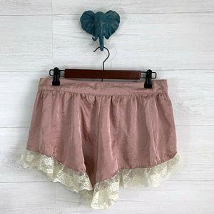 Band of Gypsies Blush Pink Satin Feel Sleep Shorts